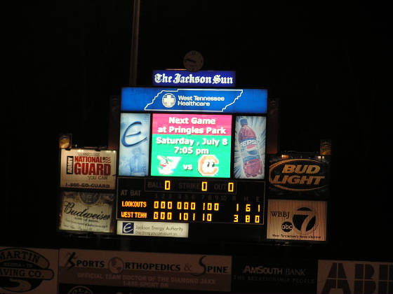 Scoreboard at Pringles Park - Jackson Tennessee
